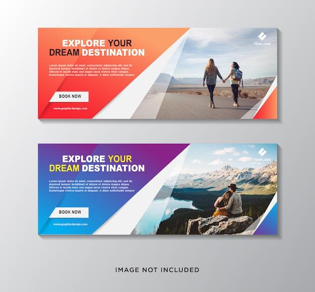 Набор шаблонов веб-баннера путешествия