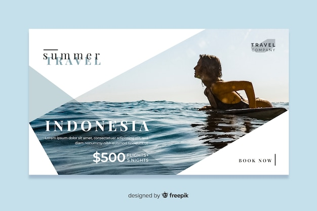 Travel web banner with photo