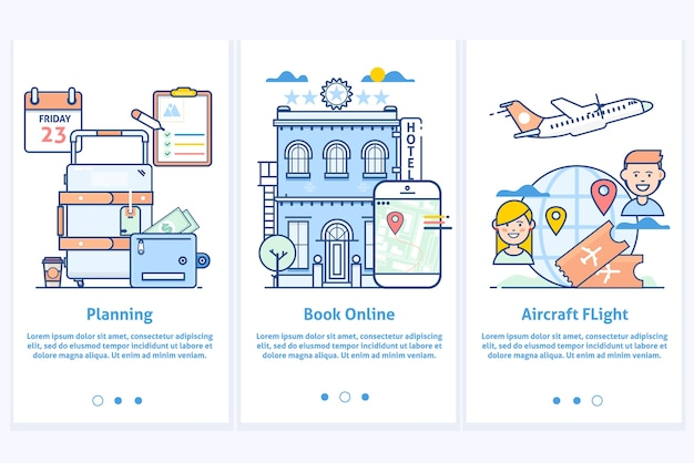 Travel web infographic.website illustration. plan your vacation.modern blue interface ux ui gui screen template for smart phone or web site banners.modern thin linear stroke icons.