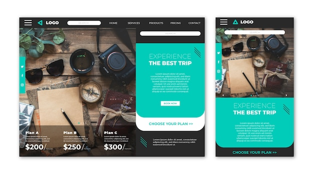 Travel website landing page