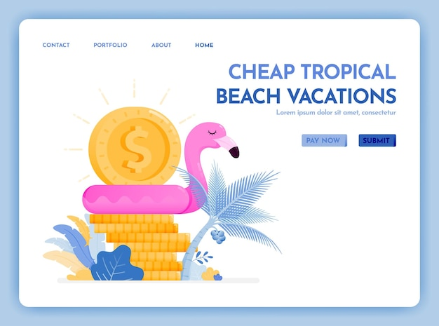 安い熱帯のビーチでの休暇の旅行ウェブサイトは、最高の価格で休暇を楽しむランディングページ