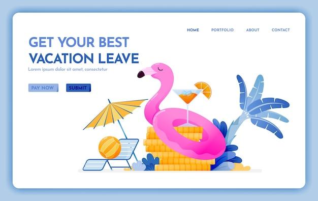 あなたの最高の休暇を取得するための旅行ウェブサイトは安い熱帯のビーチの目的地の着陸ページを残します