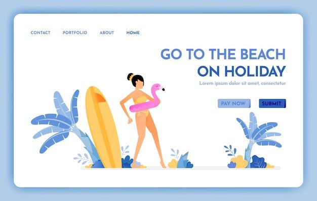 Веб-сайт о путешествиях на пляж на целевой странице праздника