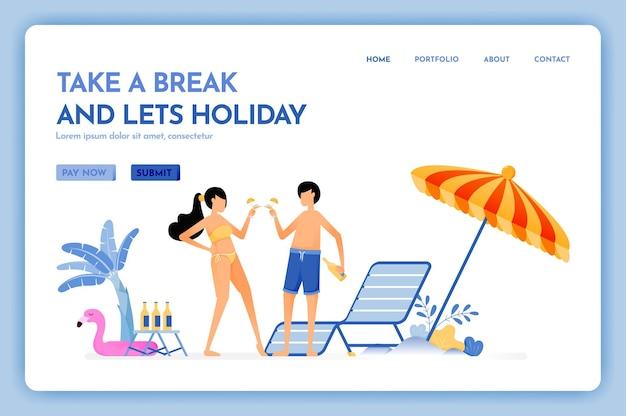 휴식을 취하고 휴가 해변 휴가 여행 재미있는 서비스 랜딩 페이지를 할 수있는 여행 웹 사이트