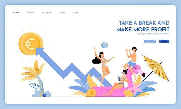 休憩してより多くの利益を上げるランディングページの旅行ウェブサイト