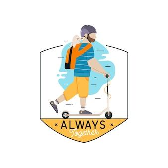 Travel with pet concept vector logo design