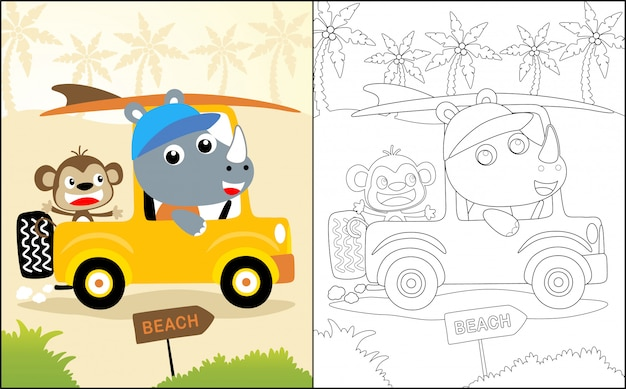 Travel with rhino and monkey cartoon