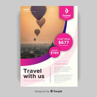 Travel with us flyer template with photo