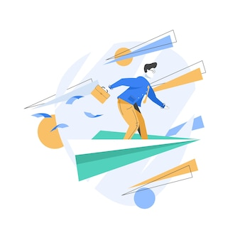 Travel to work, leaders moving company to the top, business motivation concept, illustration