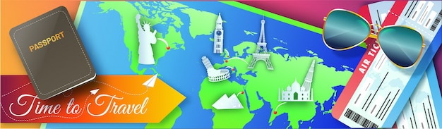 Travel world banner with top view of passport