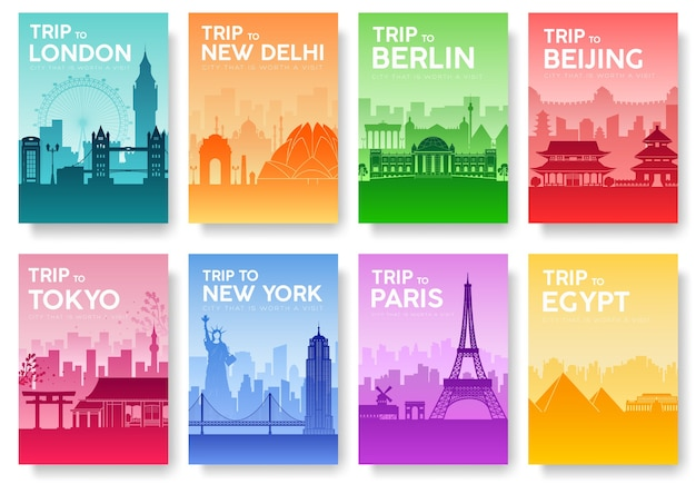 Travel of the world brochure with typography set