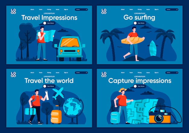 Travel the world flat landing pages set. tourists traveling by car and airplane, surfer with surfboard on beach scenes for website or cms web page. capture impression, go surfing illustration.