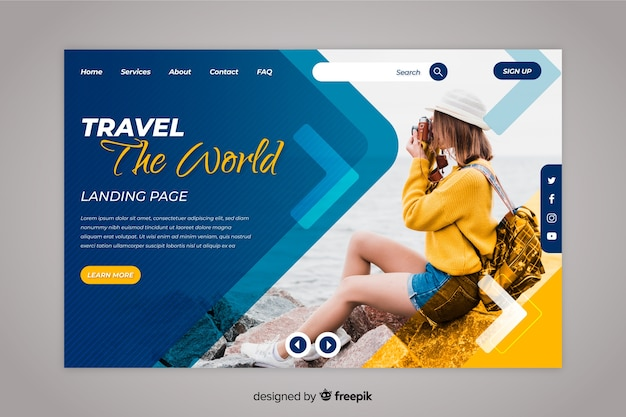 Travel the world landing page with photo