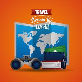 Travel world map air ticket binoculars wallet money