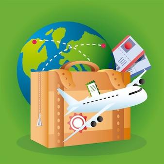 旅行世界の飛行機のチケットスーツケース休暇観光イラスト
