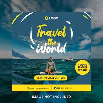 Travel the world social media post template