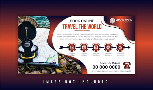 Travel the world tours banner template horizontal advertising business banner layout template