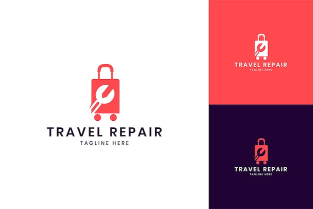 Travel wrench negative space logo design