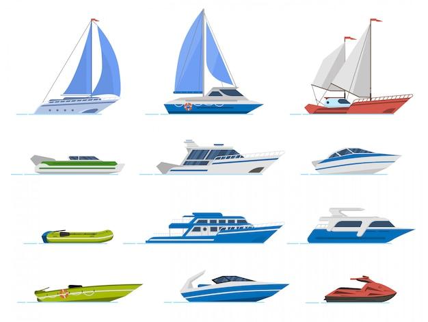 Туристическая яхта и моторная лодка. круиз лодки, роскошные яхты пароход и скорость лодки, транспорт для океанской воды иллюстрации набор. яхта морская, катер и резиновая моторная лодка