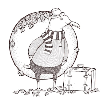 Traveled seagull coloring page in exquisite line style