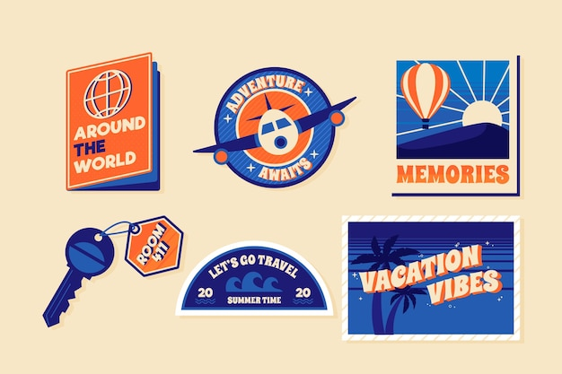 Traveleling sticker collection in 70s style