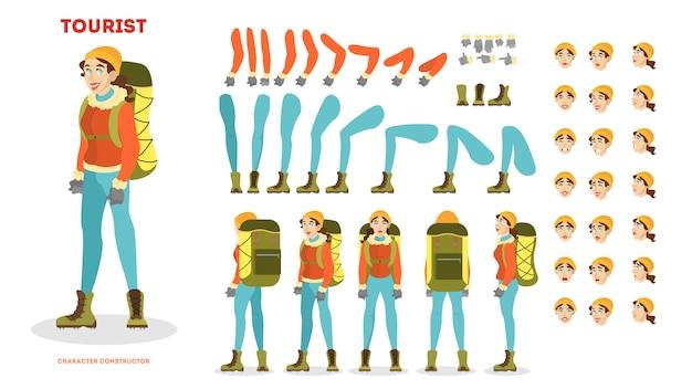 Traveler animation set. active and extreme lifestyle. travel