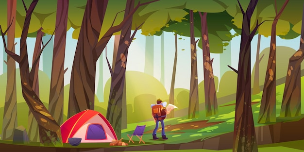 Traveler camp in forest, tourist with backpack and map stand at scenery wood landscape searches right direction