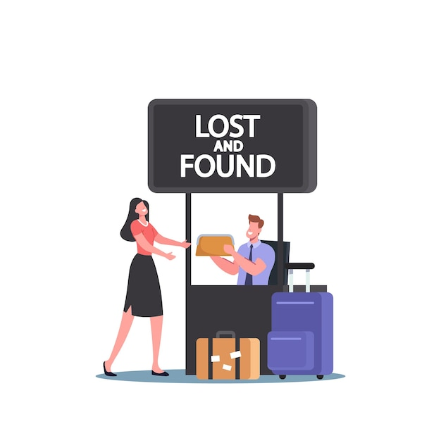 Traveler female character claim her bag in lost and found luggage office in airport. happy passenger lose baggage. woman receive clutch from worker in service stall. cartoon people vector illustration