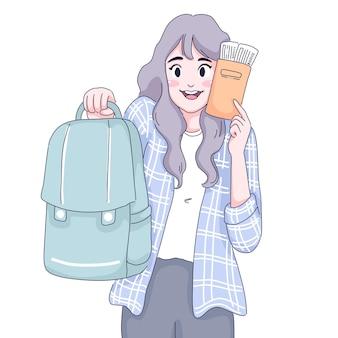 여행자 소녀 그림