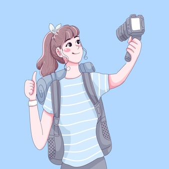 Traveler girl is vlog character