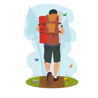 Traveler goes hiking.