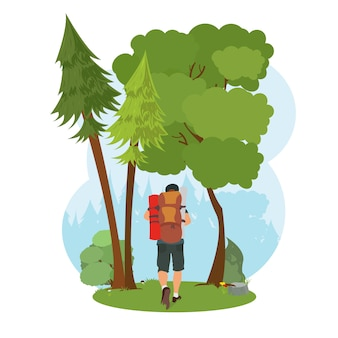 旅行者はハイキングに行きます。