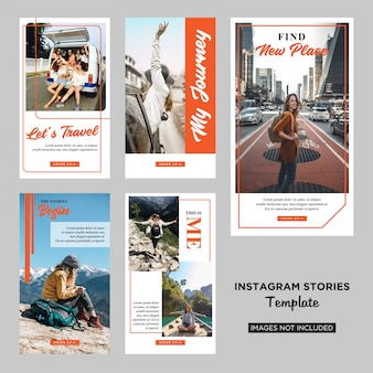 Traveler instagram stories design template premium vector