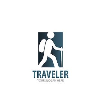 事業会社の旅行者のロゴ。シンプルなトラベラーロゴタイプのアイデアデザイン。コーポレートアイデンティティの概念。アクセサリーコレクションのクリエイティブトラベラーアイコン。