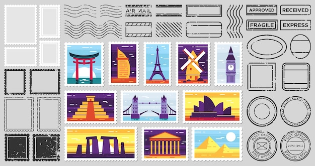 Traveler mail post stamp. city attractions postcard, fragile stamp and postage frames