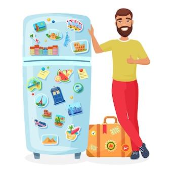 Путешественник показывает холодильник с сувенирными магнитами известных мест, концепция туристического агентства