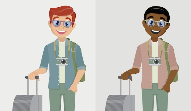 空港で荷物を持って旅行者の男