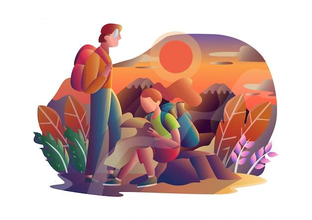 Traveler man and women hiking in mountains