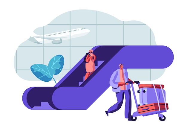 Traveler passengers waiting for departure in airport. people characters with baggage in airport terminal and flying plane.