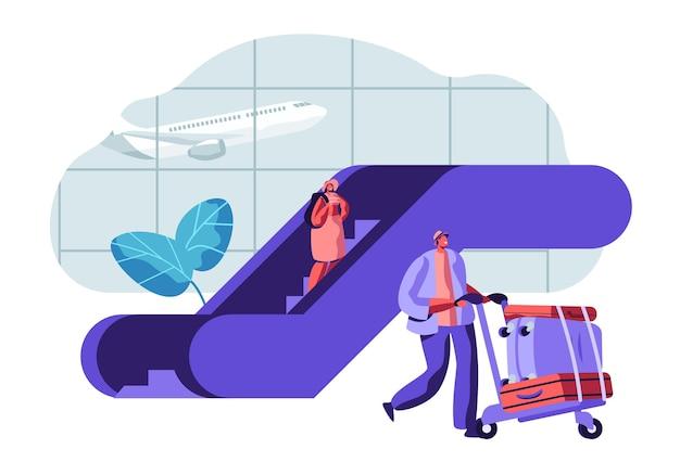 空港での出発を待っている旅行者の乗客。空港ターミナルと飛行機の手荷物を持つ人々のキャラクター。