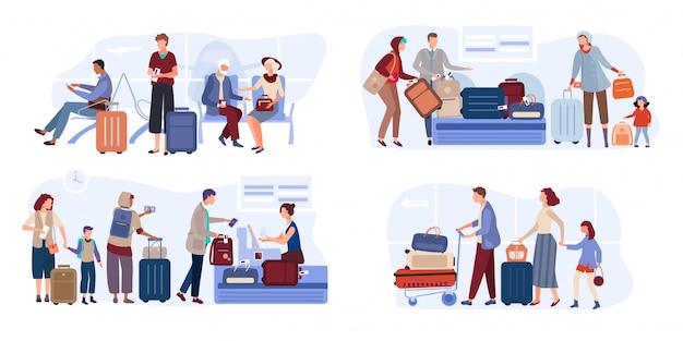 Путешественники люди в зале ожидания аэропорта с билетами, чемодан на рисованной иллюстрации авиакомпании