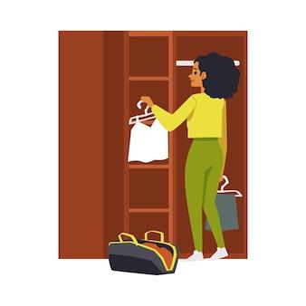 Traveler unpacking suitcases into wardrobe flat illustration