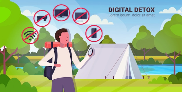 Traveler with backpack holding compass gadgets in red prohibition signs digital detox concept