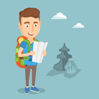 Traveler with backpack looking at map.