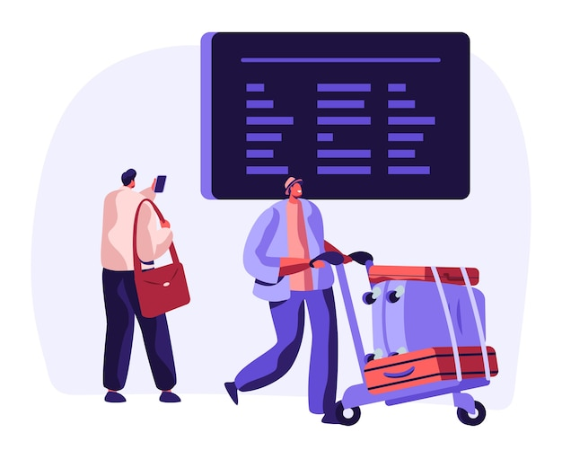 空港の時刻表に手荷物ウォッチのフライトスケジュールがある旅行者。荷物と情報掲示板と男のキャラクターと飛行機の休暇旅行の概念。