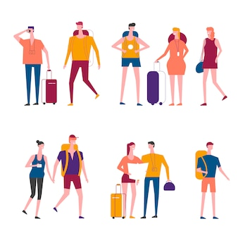 Travelers cartoon vector traveling people icons