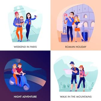 Путешественники во время отдыха в париже и риме, прогулки в горах ночной приключений дизайн концепции изоляции