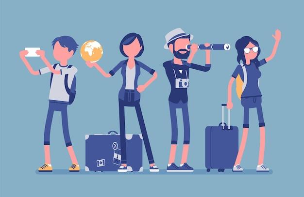 수하물이있는 여행자 그룹