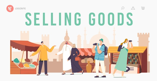 Travelers people visit arabic market landing page template. tourists characters with camera and local arabs in dress walking along stalls with spices, rugs and pottery. cartoon vector illustration