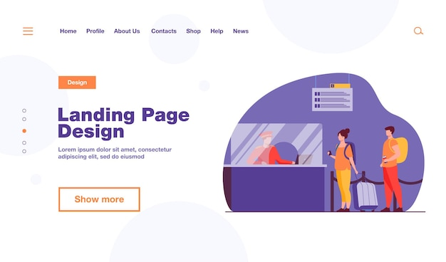 Travelers standing in queue for flight registration landing page template